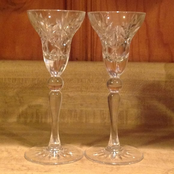 Vintage Cut Crystal Fluted Pineapple Candleholders